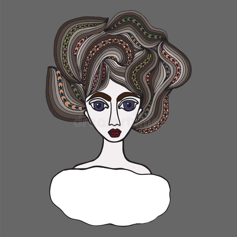 Stående av en härlig flicka med långt krabbt hår royaltyfri illustrationer
