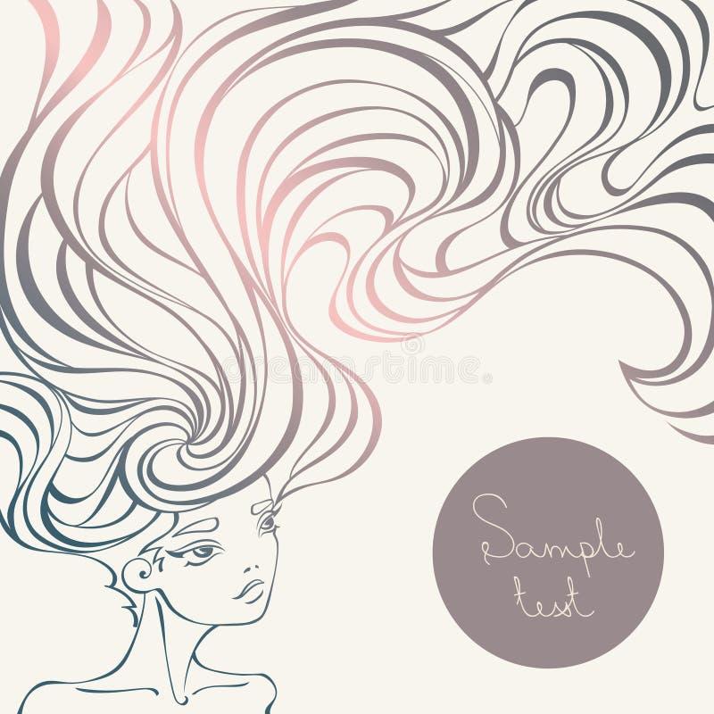 Stående av en härlig flicka med långt krabbt hår i linjär stil stock illustrationer
