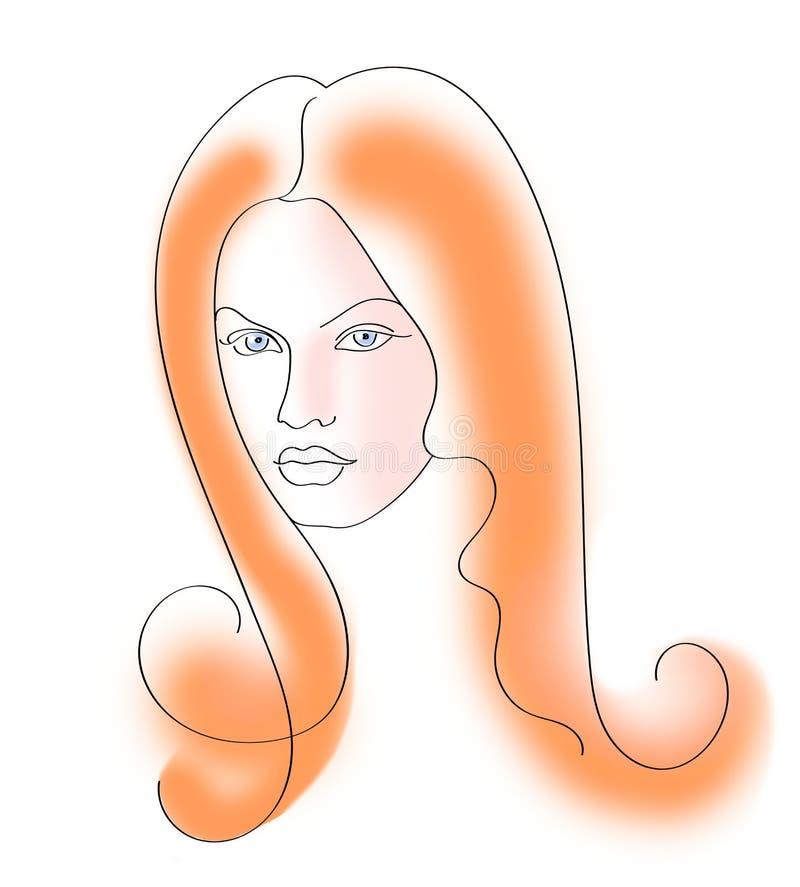 Stående av en härlig flicka med långt rött hår som dras av en linje royaltyfri illustrationer