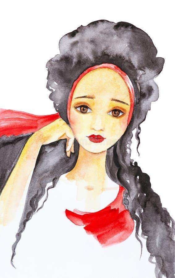 Stående av en härlig flicka med långt svart hår som binds med en röd halsduk Vattenf?rgillustration som isoleras p? vit bakgrund vektor illustrationer