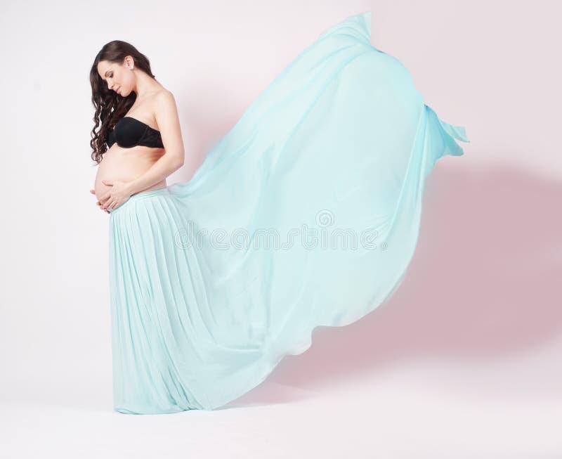 Stående av en härlig gravid kvinna i chiffongsjal royaltyfri fotografi