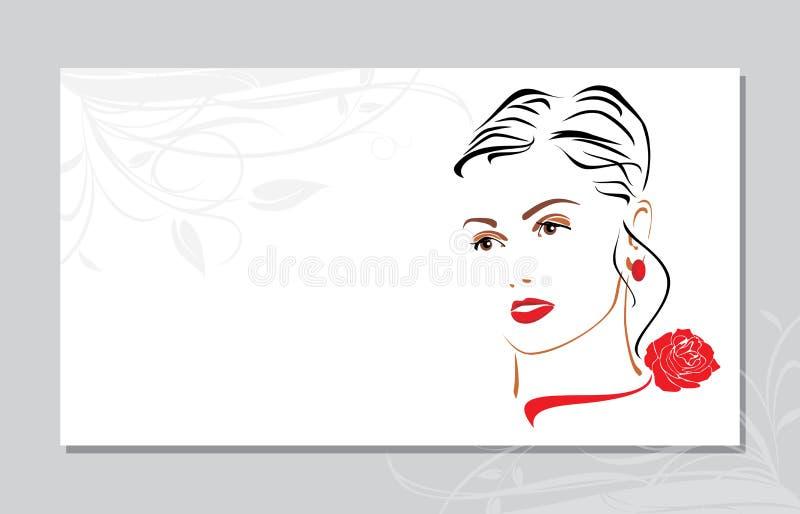 Stående av en härlig kvinna med en röd ros på hennes hals för eps-illustration info för 10 kort visit för vektor personlig stock illustrationer