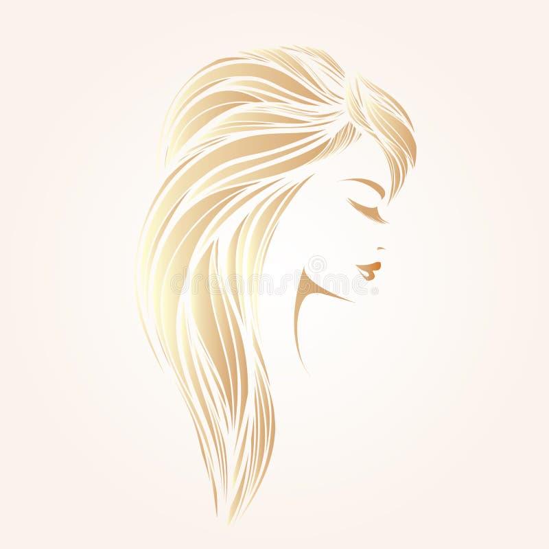 Stående av en härlig kvinna med långt blont hår och klassikermakeup stock illustrationer