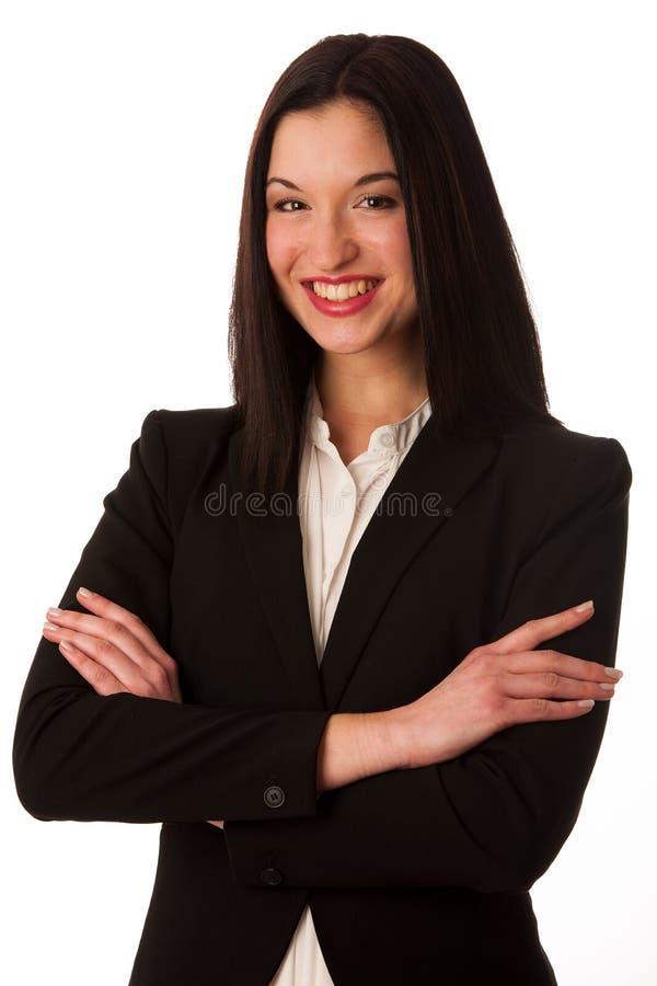 Stående av en härlig lycklig asiatisk affärskvinna som över isoleras royaltyfria bilder