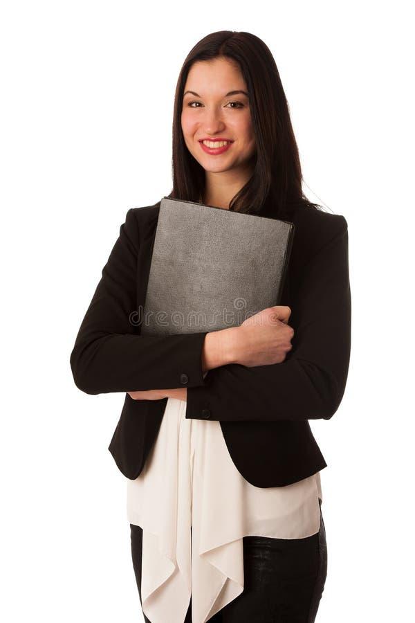 Stående av en härlig lycklig asiatisk affärskvinna som över isoleras fotografering för bildbyråer