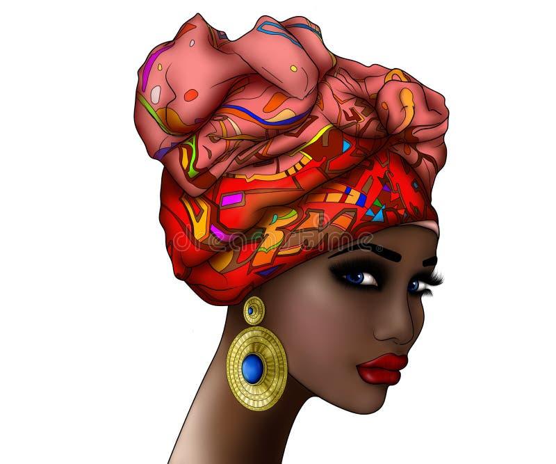 Stående av en härlig ung afrikansk kvinna i en röd turban stock illustrationer