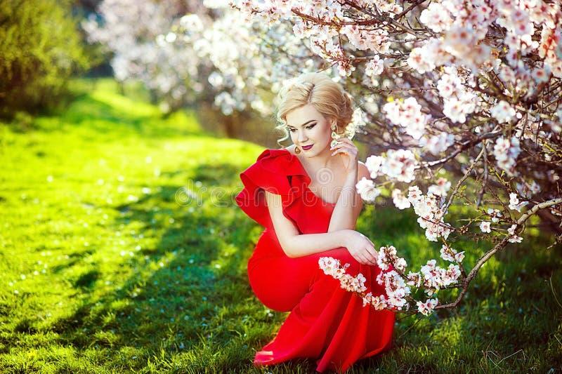 Stående av en härlig ung blond kvinna med långt hår i röd klänning som ler på bakgrunden av rosa körsbärsröda blomningar royaltyfri bild