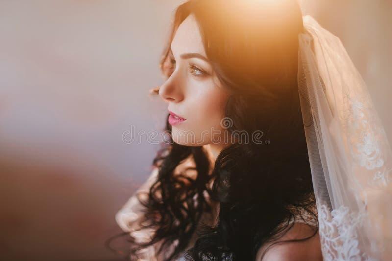 Stående av en härlig ung brunettbrud som ler, budoar, avgiftfrisyr, smink, bröllop, livsstil royaltyfria foton