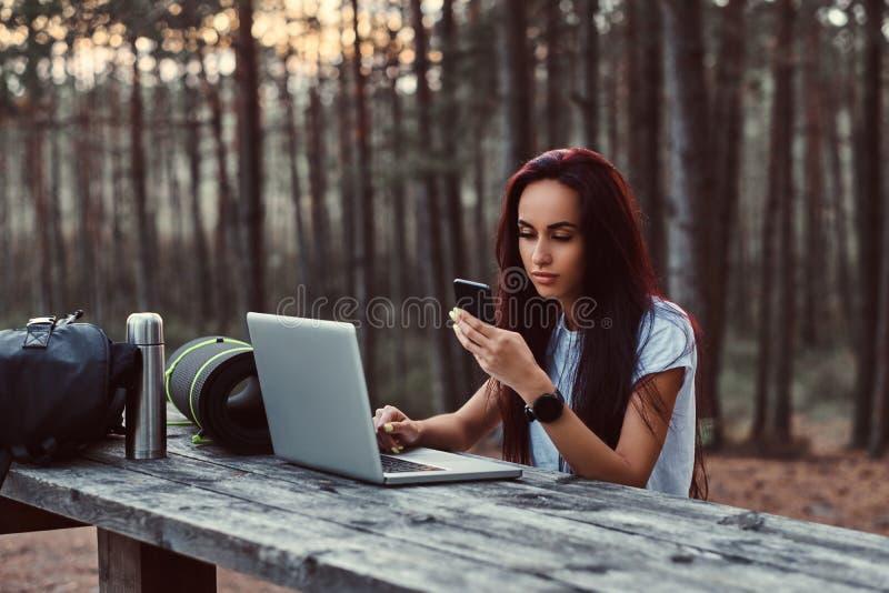 Stående av en hipsterflicka som använder en smartphone, medan sitta på en träbänk med den öppna bärbara datorn i den härliga höst arkivfoto