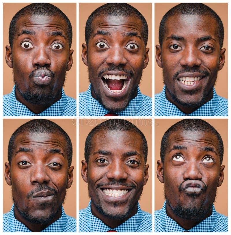 Stående av en jätteglad afro amerikansk man royaltyfria foton