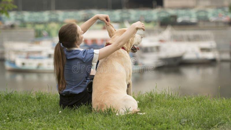 Stående av en kvinna med hennes härliga hund som utomhus ligger arkivfoton