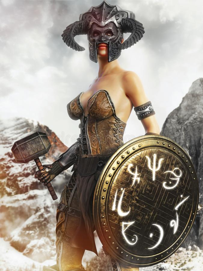 Stående av en kvinnlig jägare för fantasi som rymmer en magisk sköld- och krighammare stock illustrationer