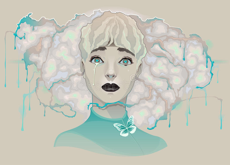 Stående av en Lady vektor illustrationer