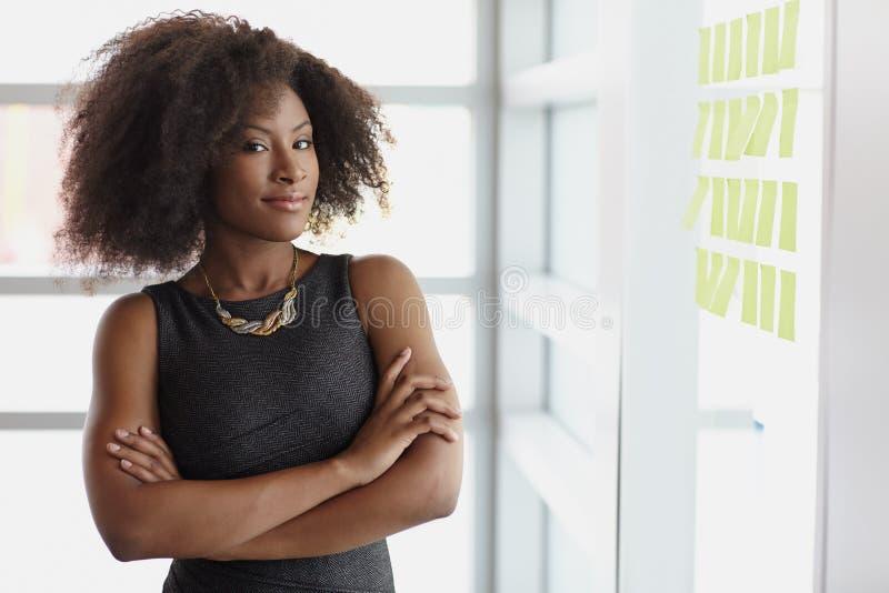 Stående av en le affärskvinna med en afro fotografering för bildbyråer