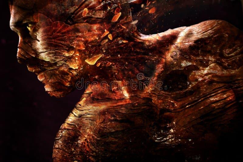 Stående av en man med en brinnande textur av huden royaltyfri foto