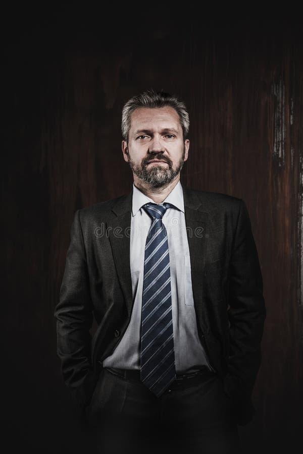 Stående av en mogen affärsman på svart bakgrund arkivfoton