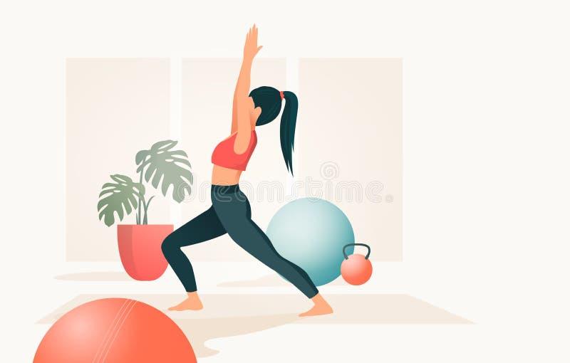 Stående av en Praticing för unga kvinnor yoga vektor illustrationer