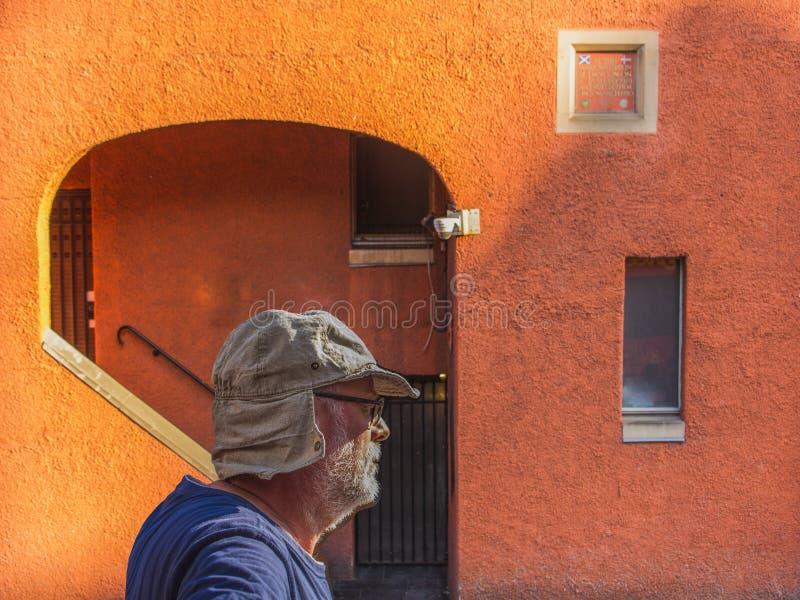 Stående av en skäggig hög man i profil, Skottland stad, lopp Europa royaltyfri foto