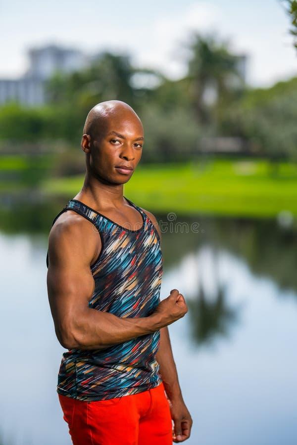 Stående av en stilig svart manlig konditionmodell som böjer hans arm arkivfoton