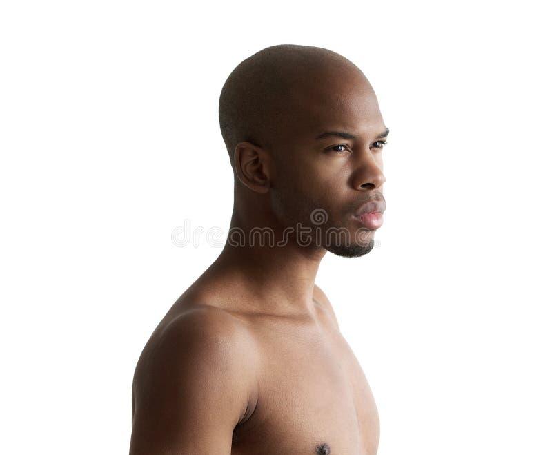 Stående av en stilig ung shirtless man royaltyfri fotografi