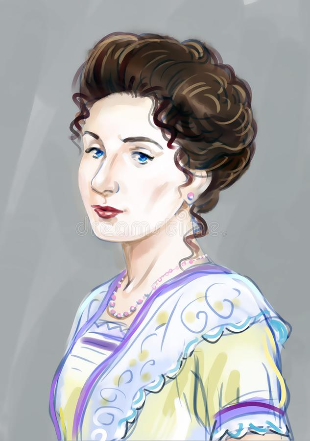 Stående av en ung elegant dam stock illustrationer