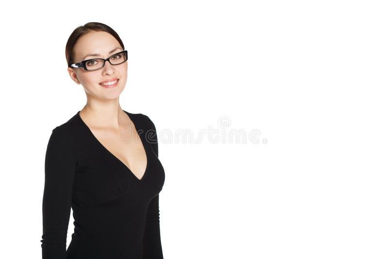 Stående av en ung flicka i exponeringsglas arkivbilder
