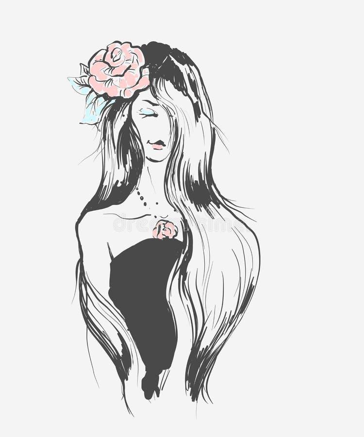 Stående av en ung flicka med rosen i hår och halsband Hand dragen framsida i vektor svartvit modekonst stock illustrationer