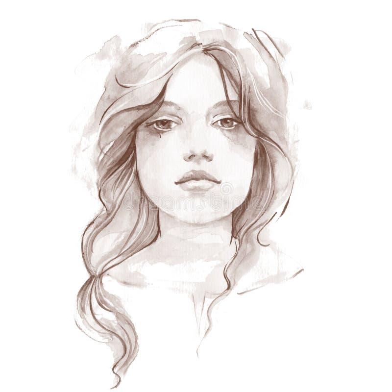Stående av en ung flicka Vattenfärgillustration 1 vektor illustrationer