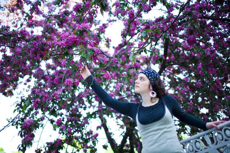 Stående av en ung härlig flicka i ett blomningträd Skönhet av vår utan allergi fotografering för bildbyråer