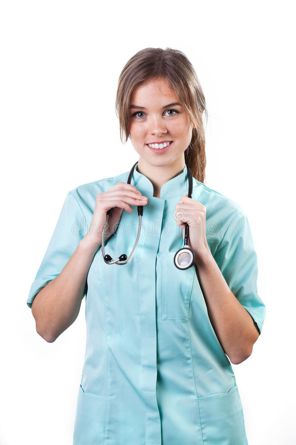 Stående av en ung le kvinnlig doktor royaltyfri bild