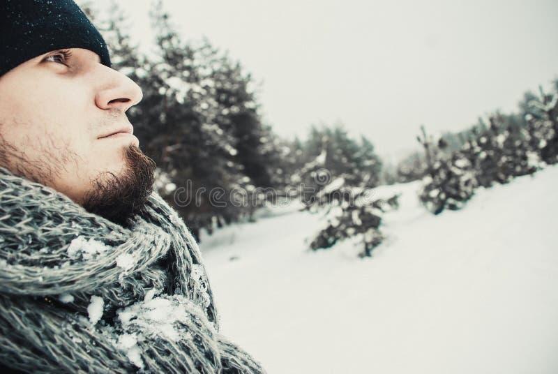 Stående av en ung stilig man med ett skägg livsstil för liggande för härliga flickahandskar grön över scarfsnowvinter royaltyfria foton