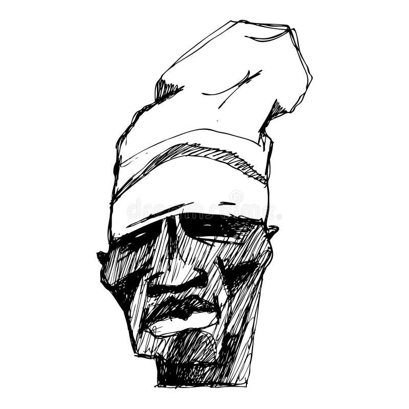Stående av ett tecken i en hatt Kan användas för tidskrifter, T-tröja och publikationer stock illustrationer