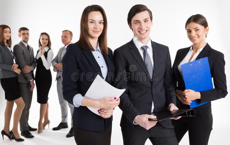 Stående av företagsledare och deras lag fotografering för bildbyråer