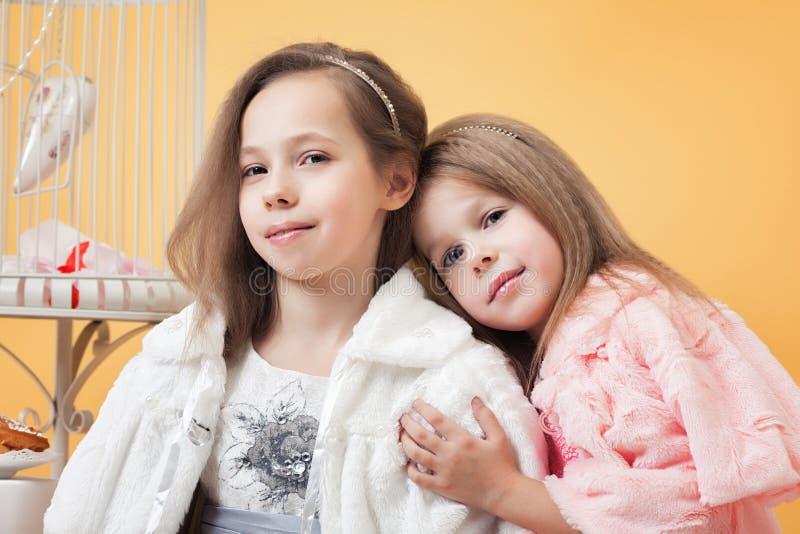 Stående av förtjusande tvilling- systrar som poserar i studio arkivfoton