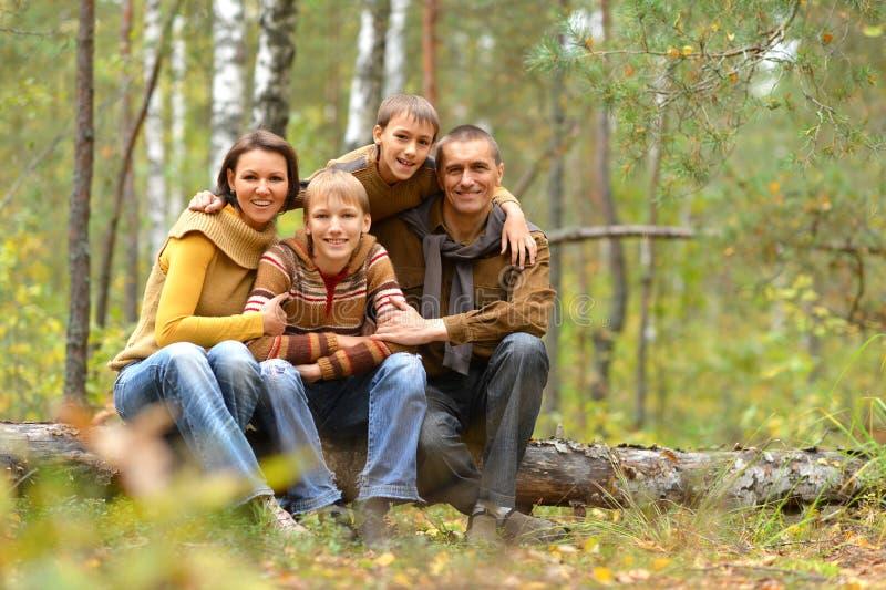 Stående av familjen av fyra som vilar i höstskog royaltyfri fotografi