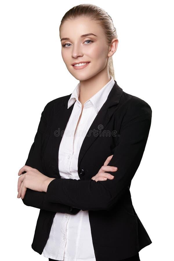 Stående av flickan i dräkt på vit bakgrund royaltyfri foto