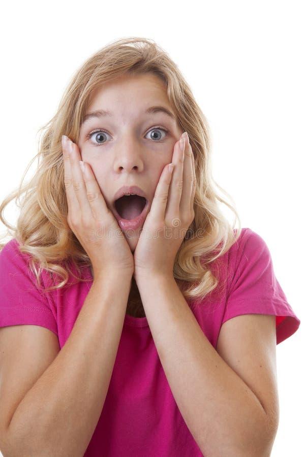 Stående av flickan som ser förvånad arkivbild