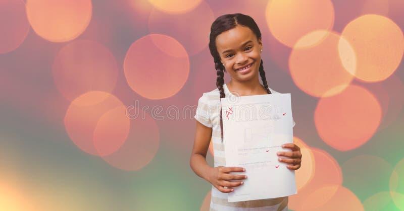 Stående av flickan som visar A plus kvalitet över bokeh vektor illustrationer