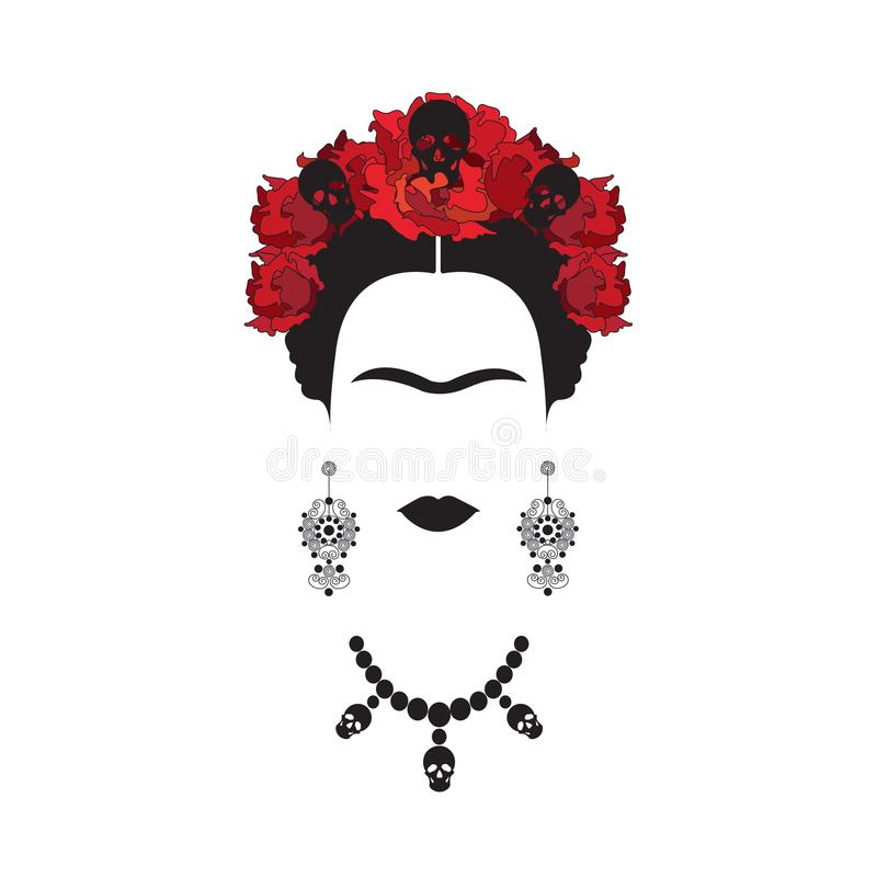 Stående av Frida Kahlo den minimalist mexicanska kvinnan med skallar av örhängen och röda blommor, mexikan Catrina som isoleras royaltyfri illustrationer