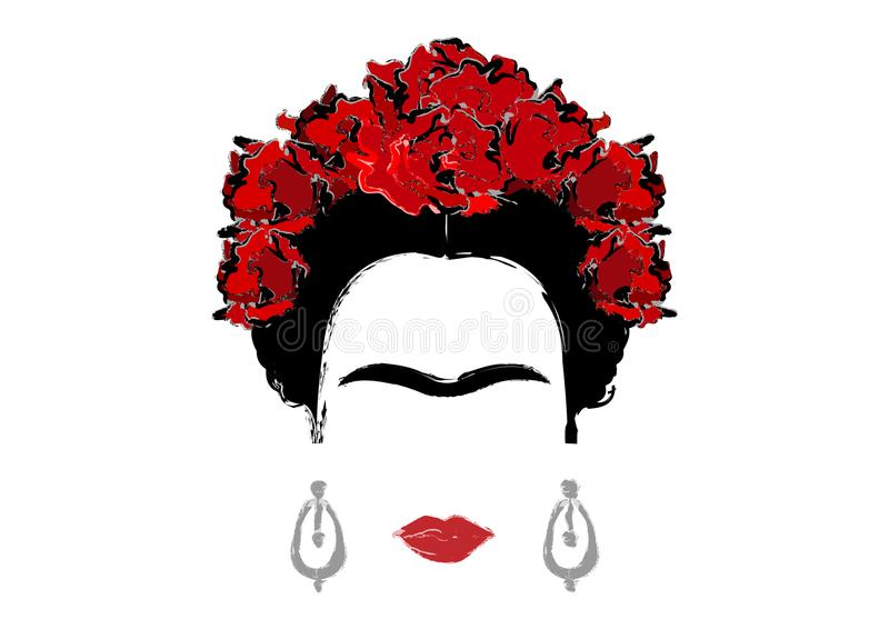 Stående av Frida Kahlo, isolerad vektorillustration, stående av den moderna mexikan- eller spanjorkvinnan som drar stil vektor illustrationer