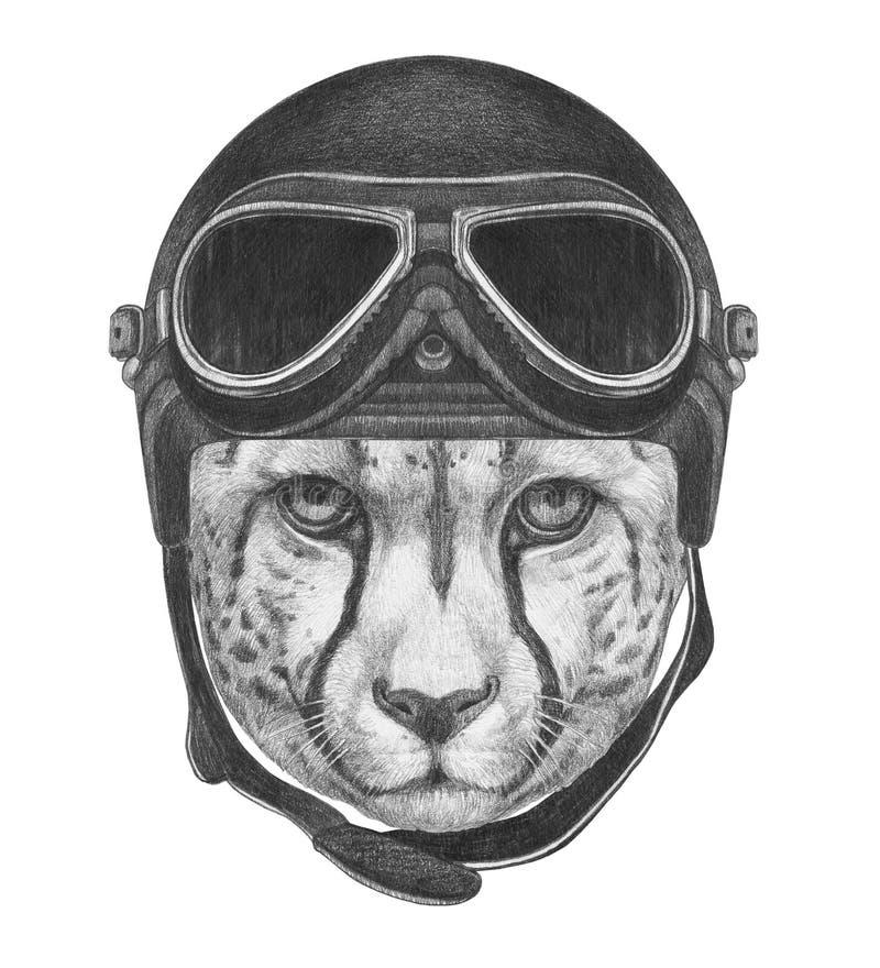 Stående av geparden med tappninghjälmen royaltyfri illustrationer