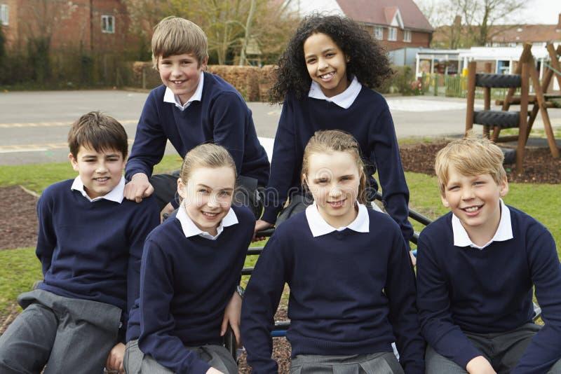 Stående av grundskolaelever i lekplats royaltyfri bild