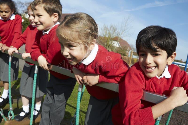Stående av grundskolaelever på klättringutrustning royaltyfri bild