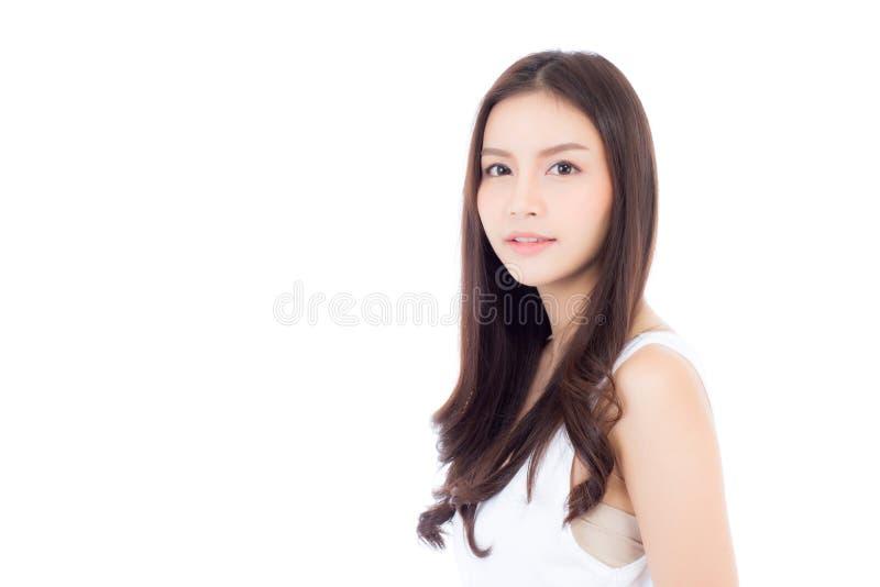 Stående av härlig asiatisk kvinnamakeup av skönhetsmedlet, flicka med leende royaltyfri fotografi