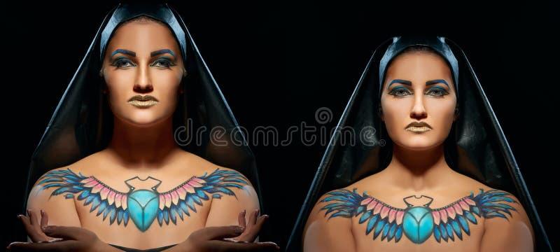 Stående av härliga egyptiska kvinnor och mannen royaltyfria foton