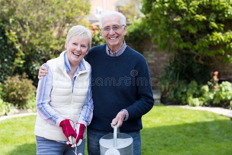 Stående av höga par som tillsammans arbetar i trädgård fotografering för bildbyråer