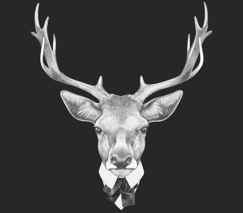 Stående av hjortar i dräkt royaltyfri illustrationer