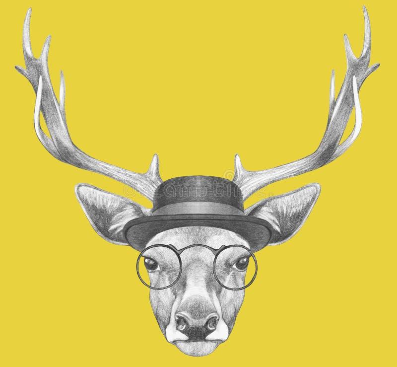 Stående av hjortar med exponeringsglas och hatten royaltyfri illustrationer
