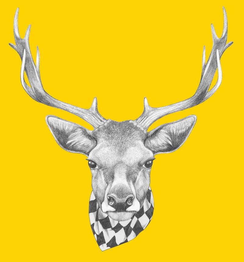 Stående av hjortar med halsduken royaltyfri illustrationer
