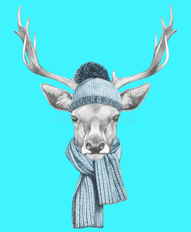 Stående av hjortar med halsduken och hatten stock illustrationer
